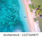 aerial pink beach summer... | Shutterstock . vector #1127164877