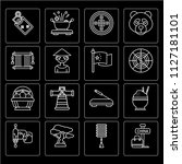 set of 16 icons such as china ...