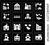 set of 16 icons such as museum  ... | Shutterstock .eps vector #1127184569