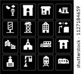 set of 16 icons such as bus ...