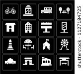 set of 16 icons such as bus...