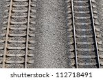 two railroads. top view - stock photo
