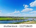 long bridge over river - stock photo
