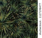 palm monstera seamless pattern. ... | Shutterstock .eps vector #1127198477