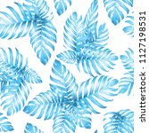 palm monstera seamless pattern. ... | Shutterstock .eps vector #1127198531