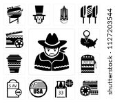 set of 13 simple editable icons ... | Shutterstock .eps vector #1127203544