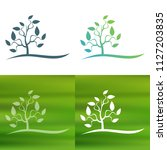 abstract tree concept logo.   Shutterstock .eps vector #1127203835