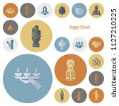 diwali. indian festival icons.... | Shutterstock .eps vector #1127210225