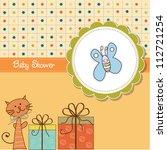funny cartoon baby shower card | Shutterstock .eps vector #112721254