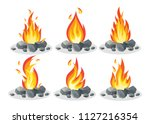 set ot bonfire with stone  rock ... | Shutterstock .eps vector #1127216354