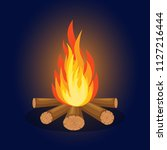 bonfire with firewood isolated... | Shutterstock .eps vector #1127216444