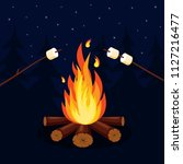 bonfire with marshmallow ... | Shutterstock .eps vector #1127216477