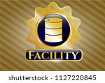 gold shiny badge with barrel...   Shutterstock .eps vector #1127220845