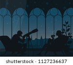 watching stars at home. vector... | Shutterstock .eps vector #1127236637