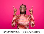 cheerful american woman in... | Shutterstock . vector #1127243891