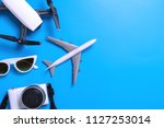 summer travel accessories... | Shutterstock . vector #1127253014