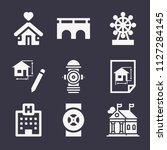set of 9 buildings filled icons ... | Shutterstock .eps vector #1127284145