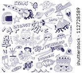 space   doodles collection | Shutterstock .eps vector #112728589