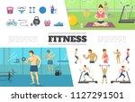 flat fitness elements... | Shutterstock .eps vector #1127291501