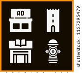 set of 4 buildings filled icons ... | Shutterstock .eps vector #1127295479