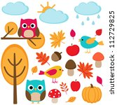 autumn set    tree  leafs ... | Shutterstock .eps vector #112729825