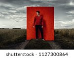vogue shot. handsome male model ... | Shutterstock . vector #1127300864