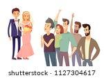 happy couple wedding ceremony... | Shutterstock .eps vector #1127304617