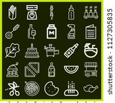 set of 25 food outline icons... | Shutterstock .eps vector #1127305835