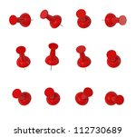 Red Push Pins   Isolated On...