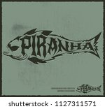 piranha vector lettering with... | Shutterstock .eps vector #1127311571
