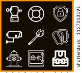 set of 9 security outline icons ... | Shutterstock .eps vector #1127313191
