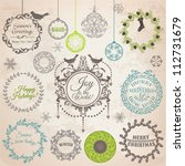 vector set  christmas... | Shutterstock .eps vector #112731679