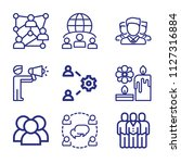 set of 9 group outline icons... | Shutterstock .eps vector #1127316884