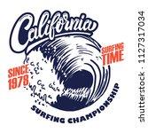 california surf rider. poster... | Shutterstock .eps vector #1127317034