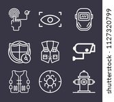 set of 9 security outline icons ... | Shutterstock .eps vector #1127320799