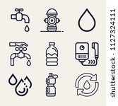 set of 9 water outline icons... | Shutterstock .eps vector #1127324111