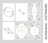 set of cards with floral design ... | Shutterstock .eps vector #1127346281