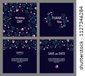 set of cards with floral design ... | Shutterstock .eps vector #1127346284