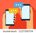 hands holing smartphone with... | Shutterstock .eps vector #1127350754