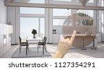 hand pointing interior design... | Shutterstock . vector #1127354291