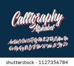 calligraphy lettering font.... | Shutterstock .eps vector #1127356784