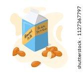 homemade almond milk tetra pack ... | Shutterstock .eps vector #1127367797