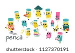 humanized school supply set.... | Shutterstock .eps vector #1127370191