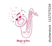 saxophone and notes. music of...   Shutterstock .eps vector #1127375234
