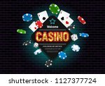 casino banner with dice  cards... | Shutterstock .eps vector #1127377724