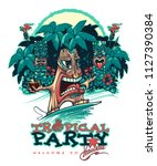 tropical tiki party. tiki surfer   Shutterstock .eps vector #1127390384