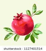pomegranate with leaves fresh...   Shutterstock .eps vector #1127401514