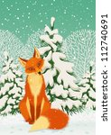 Sitting Red Fox In The Winter...