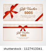 voucher template with floral... | Shutterstock .eps vector #1127413361