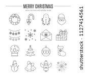 vector merry christmas icon set ... | Shutterstock .eps vector #1127414561